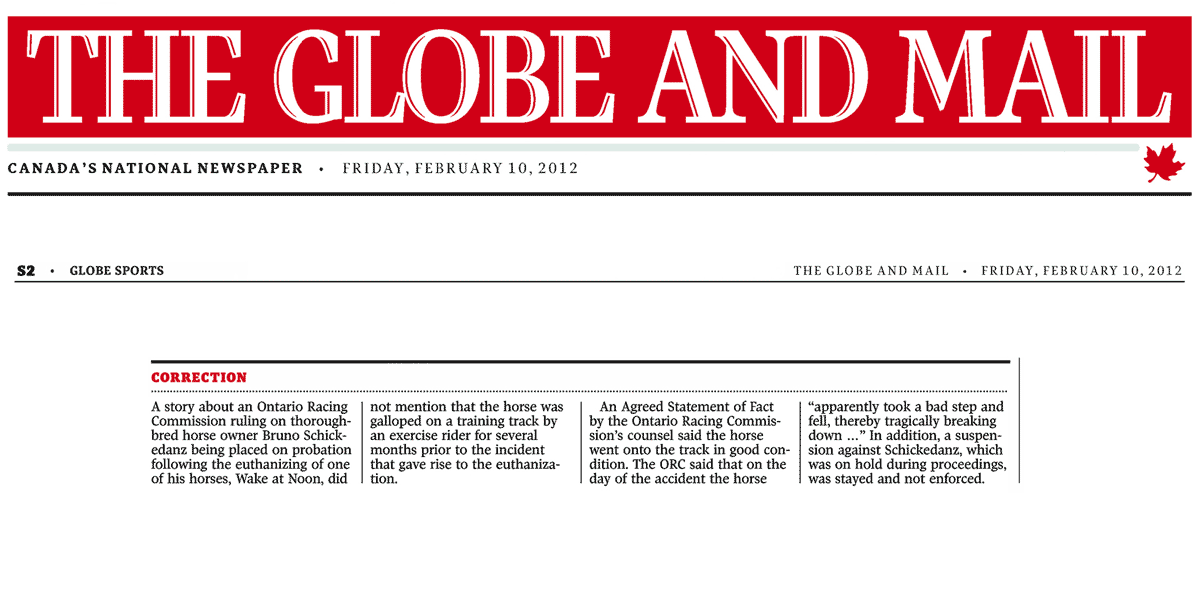 Globe & Mail 2012-02-10 - Correction by Globe re Schickedanz coverage